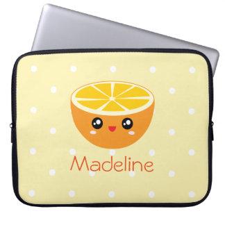 Cute Girly Kawaii Happy Sweet Orange Cartoon Laptop Sleeve