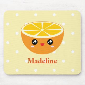 Cute Girly Kawaii Happy Sweet Orange Cartoon Mouse Pad