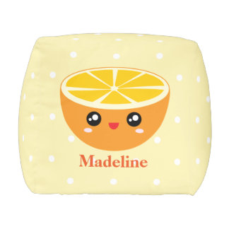 Cute Girly Kawaii Happy Sweet Orange Cartoon Pouf