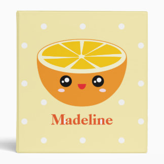 Cute Girly Kawaii Happy Sweet Orange Cartoon Vinyl Binder
