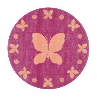 Cute Girly Light Coral, Pink, Magenta Butterflies Cutting Board