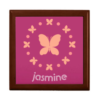 Cute Girly Light Coral, Pink, Magenta Butterflies Gift Box