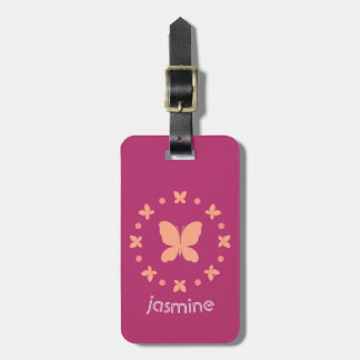 Cute Girly Light Coral, Pink, Magenta Butterflies Luggage Tag