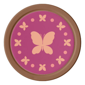 Cute Girly Light Coral, Pink, Magenta Butterflies Poker Chips