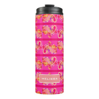 Cute Girly Magenta Stripe Hearts | Personalized Thermal Tumbler
