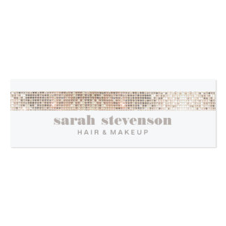 Cute Girly & Modern Sparkly Silver FAUX Sequins Double-Sided Mini Business Cards (Pack Of 20)