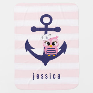 Cute Girly Nautical Anchor, Pink Owl and Stripes Baby Blanket