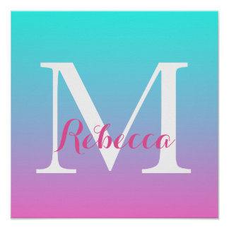 cute girly ombre mermaid pink Fuchsia turquoise Poster