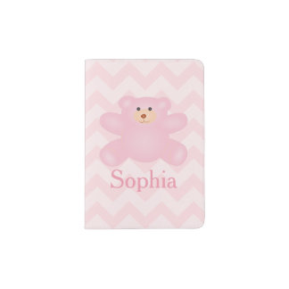 Cute Girly Pastel Pink Teddy Bear Passport Holder