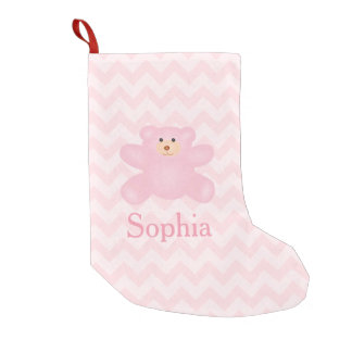 Cute Girly Pastel Pink Teddy Bear Small Christmas Stocking