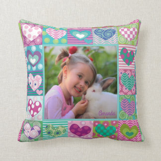 Cute girly personalized photo throw pillow