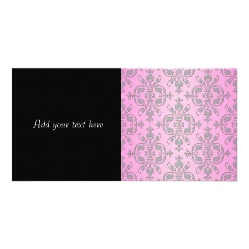 Cute Girly Pink and Grey Damask Photo Greeting Card
