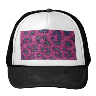 Cute Girly Pink and mulitcolored glitter Cheetah Trucker Hats
