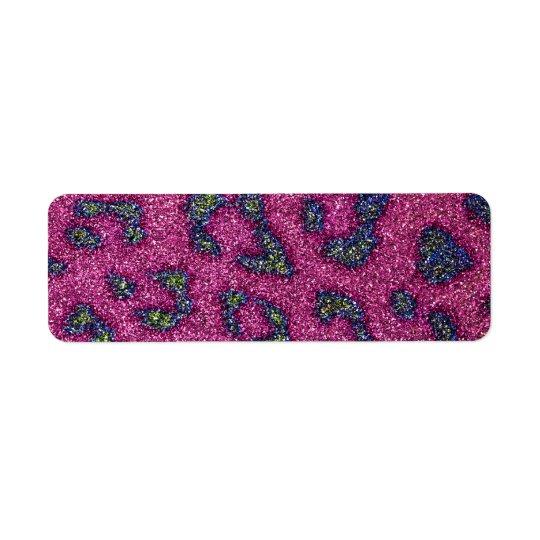 Cute Girly Pink and mulitcolored glitter Cheetah Return Address Label