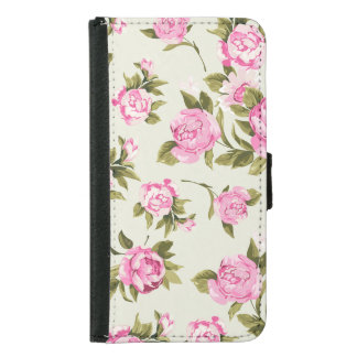 Cute Girly Pink and Purple Provencal Roses Samsung Galaxy S5 Wallet Case