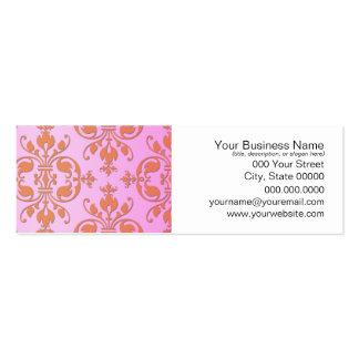 Cute Girly Pink and Yellow Damask Mini Business Card
