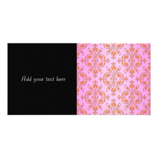 Cute Girly Pink and Yellow Damask Photo Cards