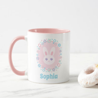 Cute Girly Pink Bunny Rabbit Floral Monogram Mug