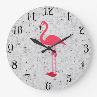 Cute Girly Pink Elegant Flamingo Wall Clock