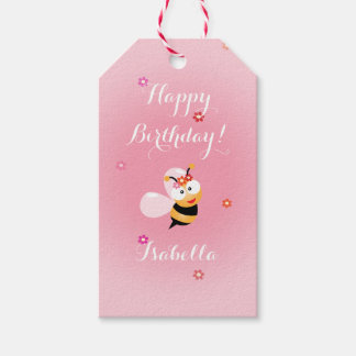 Cute Girly Pink Flower Baby Girl Bee Birthday Pack Of Gift Tags