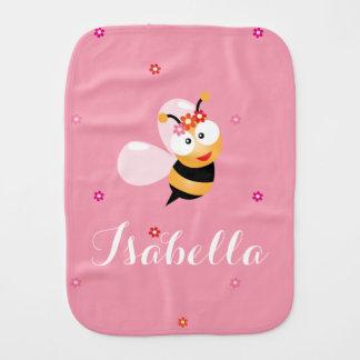 Cute Girly Pink Flower Baby Girl Honey Bee Cartoon Baby Burp Cloths