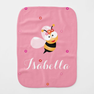 Cute Girly Pink Flower Baby Girl Honey Bee Cartoon Burp Cloth