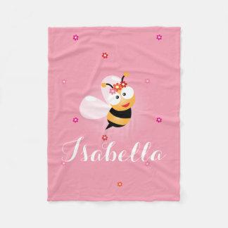 Cute Girly Pink Flower Girl Baby Bee Cartoon Fleece Blanket