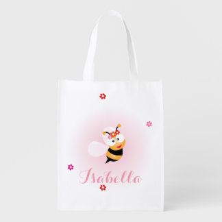 Cute Girly Pink Flower Girl Bee Wedding Favor Reusable Grocery Bag