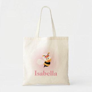 Cute Girly Pink Flower Girl Bee Wedding Favor Tote Bag