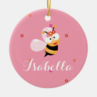 Cute Girly Pink Flower Girl Bumble Bee Cartoon Ceramic Ornament
