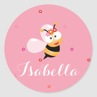 Cute Girly Pink Flower Girl Bumble Bee Cartoon Classic Round Sticker