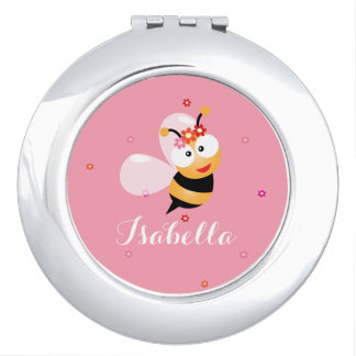 Cute Girly Pink Flower Girl Bumble Bee Cartoon Compact Mirrors