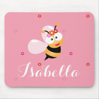 Cute Girly Pink Flower Girl Bumble Bee Cartoon Mouse Pad