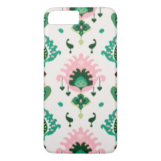 Cute girly pink green ikat tribal patterns iPhone 8 plus/7 plus case