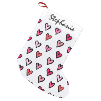 Cute Girly Pink Hand Drawn Hearts on White Pattern Small Christmas Stocking