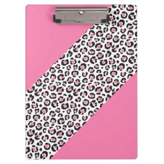 Cute Girly Pink Leopard Cheetah Stripe Clipboard