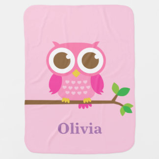 Cute Girly Pink Owl For Baby Girls Baby Blankets