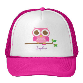 Cute Girly Pink Owl For Girls Trucker Hat