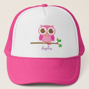 Cute Girly Pink Owl For Girls Trucker Hat 79461878df9