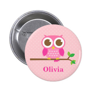 Cute Girly Pink Owl on Branch For Girls 2 Inch Round Button