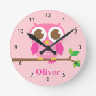 Cute Girly Pink Owl on Branch Girls Room Decor Round Clock