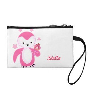 Cute Girly Pink Penguin Coin Purse