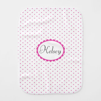 Cute Girly Pink Polka Dots Trendy Monogram Burp Cloth