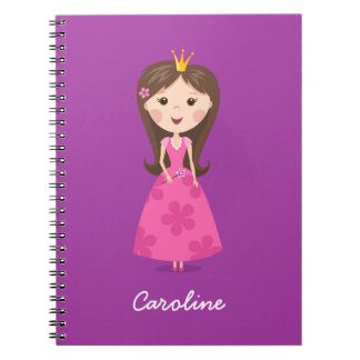 Cute girly pink princess on purple personalized note books