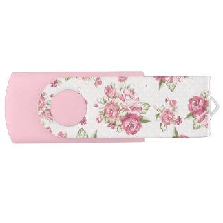Cute girly pink roses swivel USB 2.0 flash drive