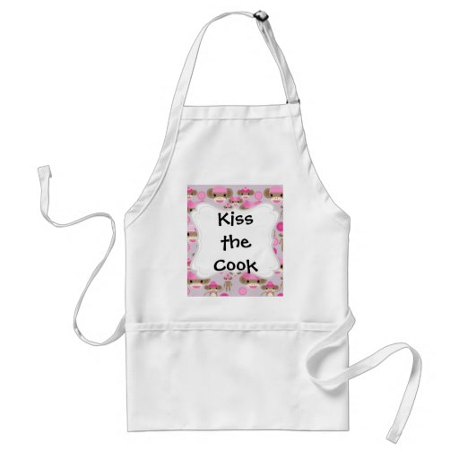 Cute Girly Pink Sock Monkey Girl Pattern Collage Apron