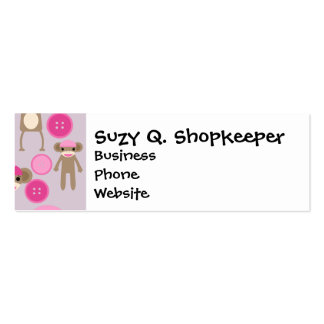 Cute Girly Pink Sock Monkey Girl Pattern Collage Double-Sided Mini Business Cards (Pack Of 20)