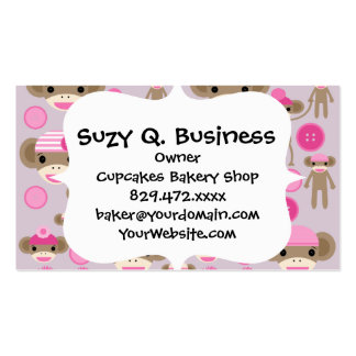 Cute Girly Pink Sock Monkey Girl Pattern Collage Business Card Template