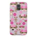 Cute Girly Pink Sock Monkey Girl Pattern Collage Galaxy S5 Cases