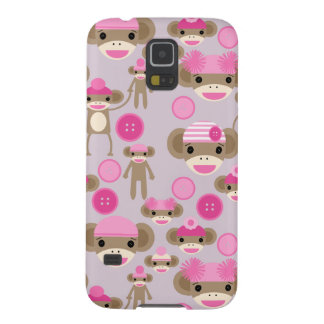 Cute Girly Pink Sock Monkey Girl Pattern Collage Cases For Galaxy S5